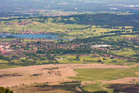 aerial view over lake staffelsee and
