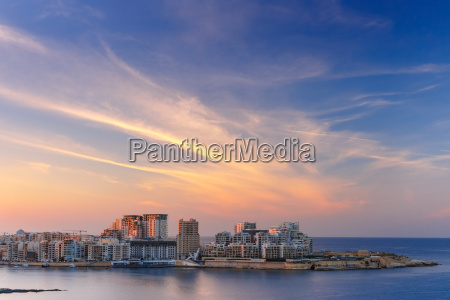 sliema skyline at sunset view from