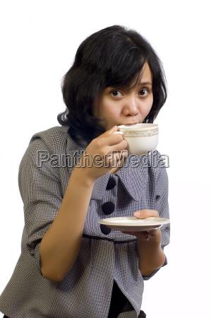 business woman drink coffee