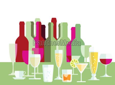 drinks wine champagne bottles glasses