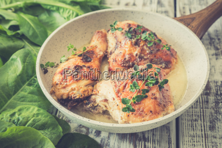 fried golden chicken thighs with spices
