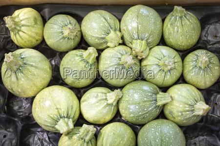 round zucchini on a market in