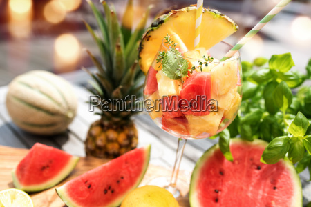 fruit cocktail with melon and pineapple