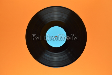 old black vinyl record with blank