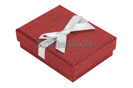 red decorative present box with white