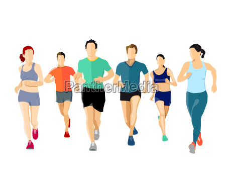 a group of runners illustration