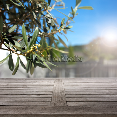 rustic wooden table in summer