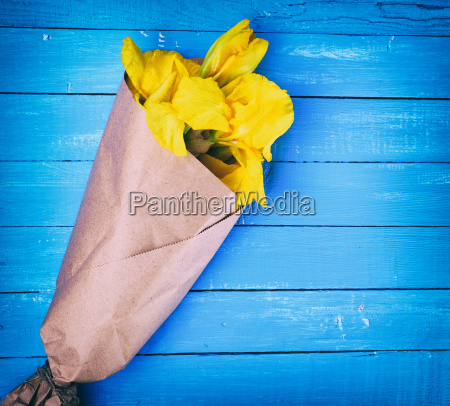 yellow irises wrapped in brown kraft