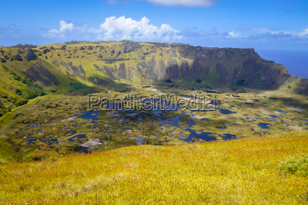 rano kau volcano crater in easter