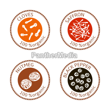 set of flat spices stamp labels