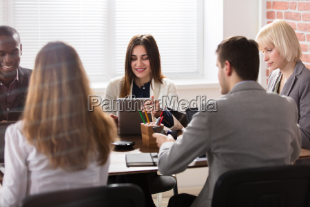 female manager with her colleague in