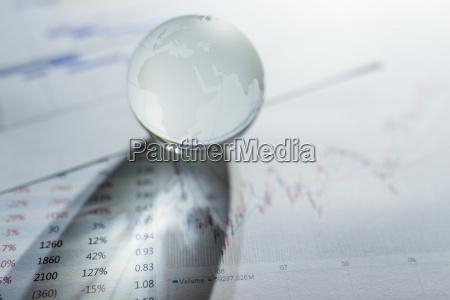 glass globe on stock market chart