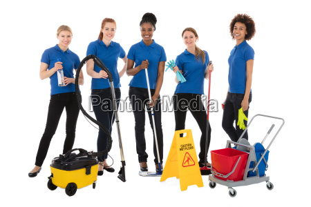 group of female janitors