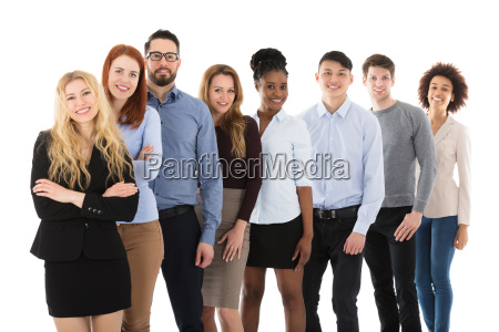 smiling multiracial college students standing in