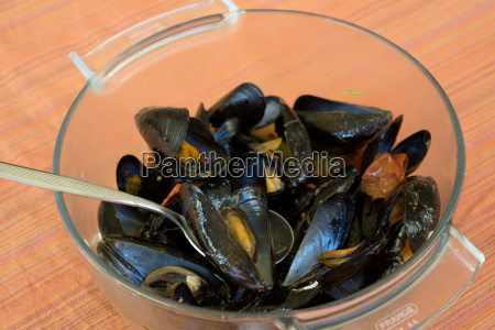 peppered steamed mussels or soup of