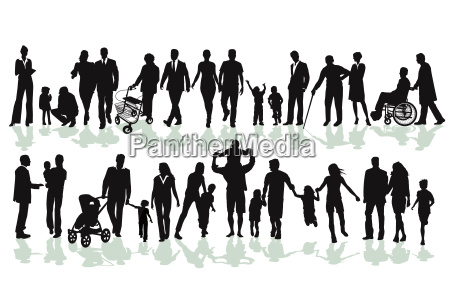 groups of families and relatives silhouettes