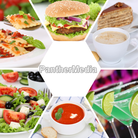 collection collage food and drink dishes