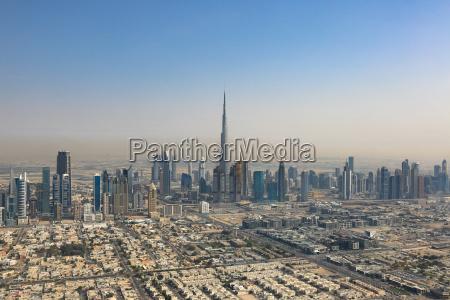 dubai burj khalifa skyscraper aerial view