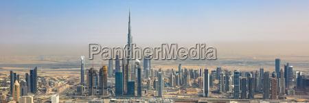 dubai skyline burj khalifa panorama skyscraper