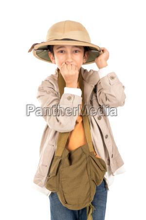 boy in safari clothes