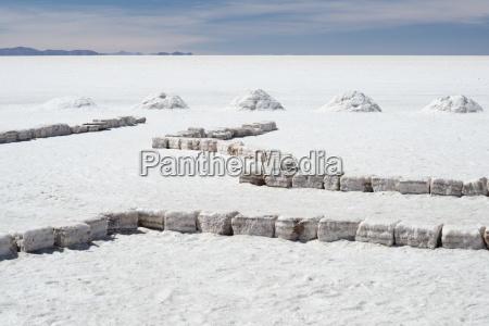 salt bricks and piles of salt