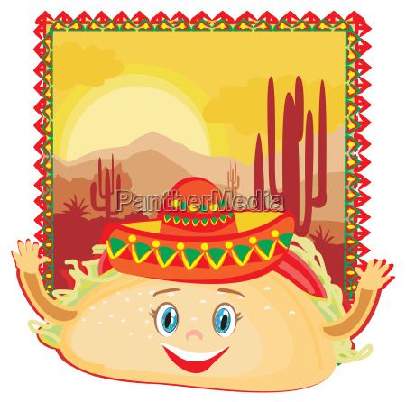 funny tacos character mexican frame card