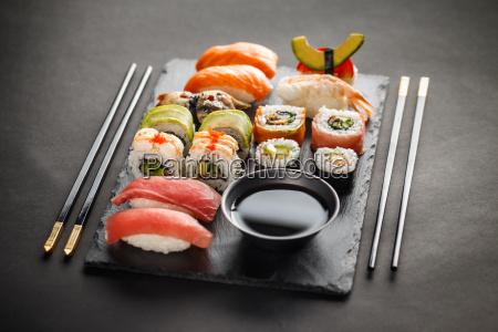 sashimi maki and nigiri sushi