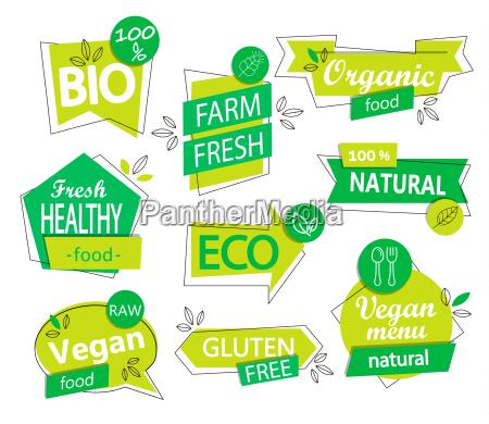vector set of bio eco organic