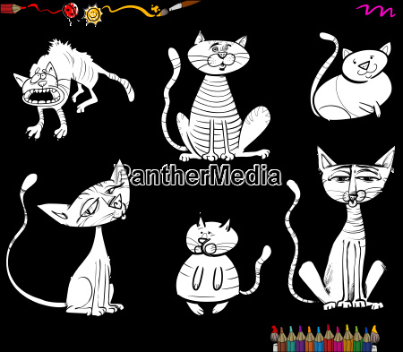 cartoon cat characters coloring book