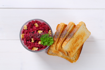 fresh beetroot spread with toasted bread