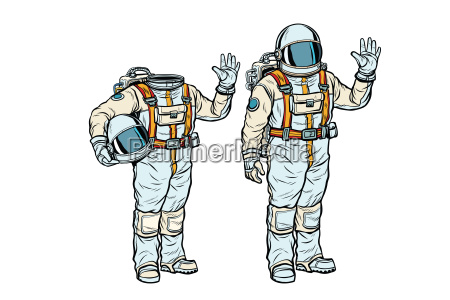 astronaut in spacesuit and mockup without