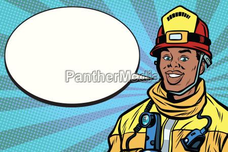 african american firefighter portrait comic bubble