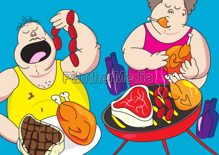 funny barbecue party pig out cartoon