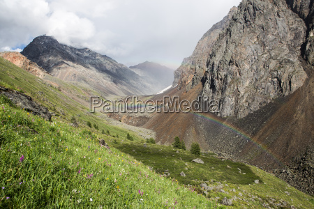 double rainbow in altay mountains