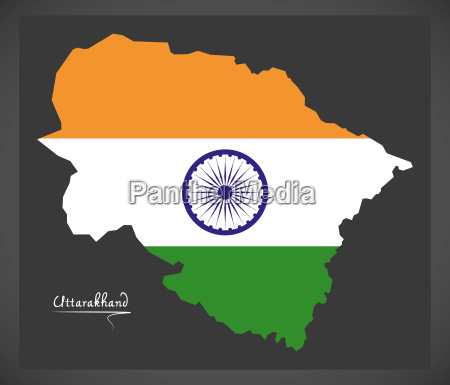 uttarakhand map with indian national flag
