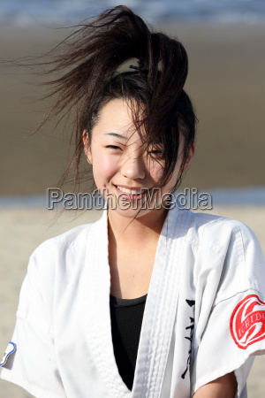 young japanese girl training of karate