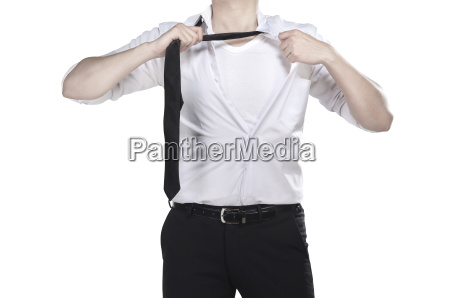 man open shirt like superhero