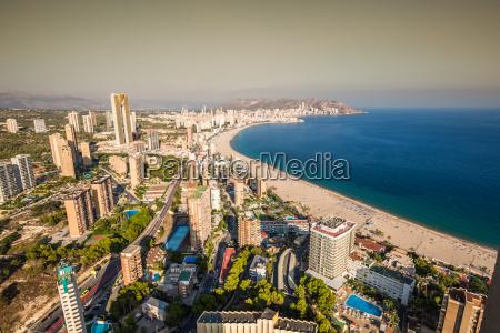 benidorm levante beach aerial view in