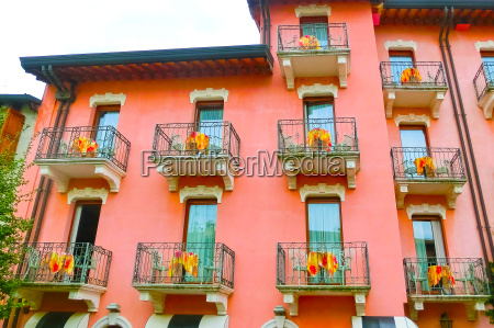 beautiful red fasade of house at
