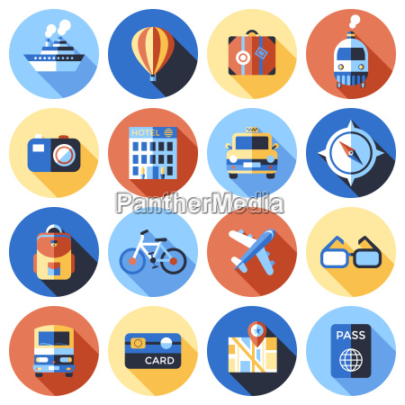 digital vector blue red travel icons