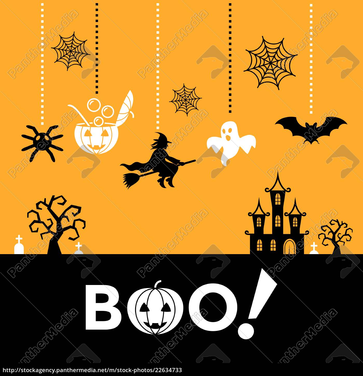 Digital Vector Yellow Black Happy Halloween Icons With Royalty Free Image 22634733 Panthermedia Stock Agency