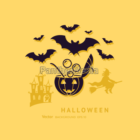 digital vector yellow black happy halloween