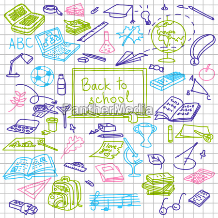 back to school hand drawn colored