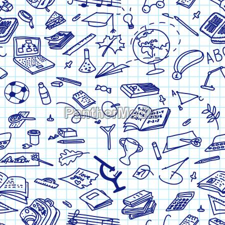 back to school hand drawn blue