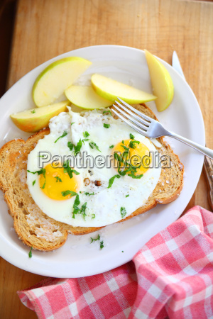 breakfast eggs with toast overhead