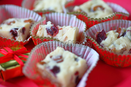white chocolate candy with cranberries