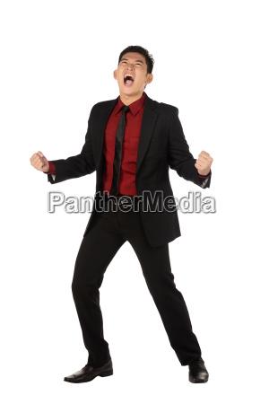 business man scream happy