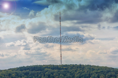 broadcasting tower in front of a