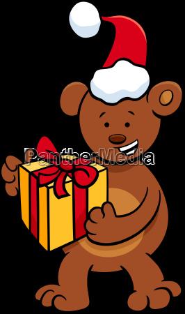 bear with gift on christmas time