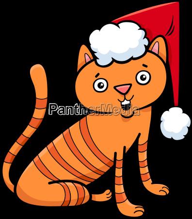 cat or kitten on christmas cartoon